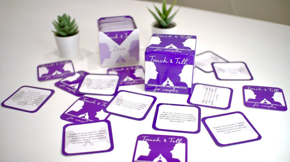 Touch & Tell Card Game set up, with cards casually spread out on table